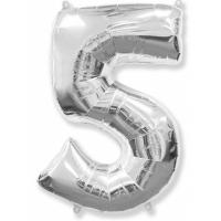"""Шар фольгированный """"Цифра 5"""" серебро 102 см. С гелием"""