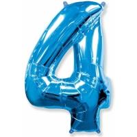 """Шар фольгированный """"Цифра 4"""" синяя 102 см. С гелием"""