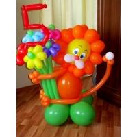 """Фигура из шаров """"Львёнок с букетом и цифра"""""""